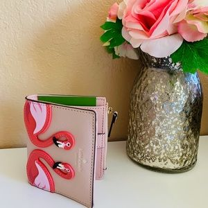 KATE SPADE FLAMINGO BY THE POOL SMALL ZIP WALLET